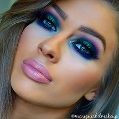 Greens, Blue & purple from last week ✨  Product list breakdown:  Brows - @sigmabeauty Brow Pencil & Powder in Medium/Dressed Up.  Eyeshadows - @morphebrushes 35B & 35U palette, @eyeofhoruscosmetics black eyeliner pencil. Eyelashes - @_slayeveryday Claudia Lash Cheeks - @anastasiabeverlyhills Contour Kit, @lumacosmetics Bronzer, @maccosmetics Warm Soul Blush & @sleekmakeup Solstice Highlight palette.  Lips @napoleonperdis Pinot Noir lip liner & @maccosmetics Angel lipstick  Brushes used…