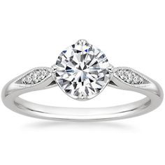 I love the pave detail of this ring!! 18K+White+Gold+Jolie+Diamond+Ring+from+Brilliant+Earth