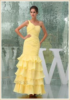 Sequins Chiffon One Shoulder Long Prom Dress