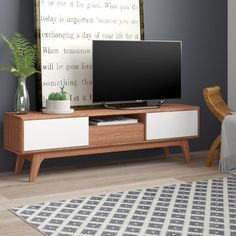 Home Loft Concept TV-Lowboard Eerie für TVs bis zu 58 & Bewertungen Low Tv Stand, Diy Ipad Stand, Low Sideboard, Small Media Rooms, Tv Stand Cabinet, Media Shelf, Media Room Design, Loft, Coffee Table With Storage