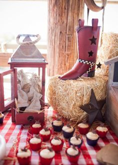 Savvy Styled Sessions & Events: Half Birthday at the Ranch! cowboy/western party Mini cupcakes - @Martina Damko - @Beth Obermeyer  Lizzie Bee Photography
