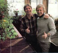 """John Denver and """"best bud"""", Tom Crum at Windstar Geodome... (From a tour book) Photo courtesy: Music and Communication - John Denver Fan Club (Germany)© on Facebook... https://www.facebook.com/JohnDenverClub-Germany® Website: www.johndenver club.de"""