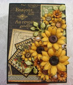TPHH Sharon Graphic 45 French Country Altered Book Box-Album Sunflowers Handmade #BoxPaperGraphic45