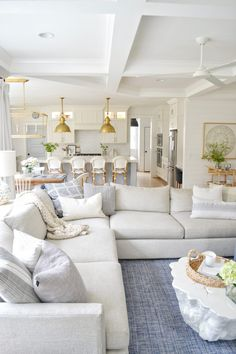 Home Interior Decoration .Home Interior Decoration New Living Room, Home And Living, Living Room Decor, Living Spaces, Hamptons Living Room, Living Room With Sectional, Coastal Living Rooms, Small Living, Sectional Sofas