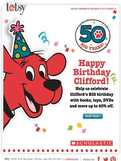 Up to 40% OFF! Happy Birthday Clifford - Help us celebrate Clifford's BIG birthday with books, toys, DVDs and more. - Totsy