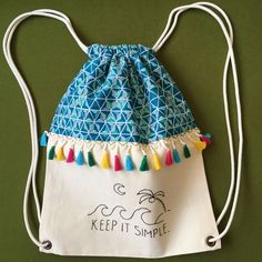 """Keep It Simple"" Shirred Backpack- ""Keep It Simple"" Büzgülü Sırt Çantası ""Keep It Simple"" Shirred Backpack Size: 32 x 42 cm Shirred, lined backpackThe figures on the product are handmade …. Yarn Crafts, Fabric Crafts, Diy Backpack, Drawstring Backpack, Bag Illustration, Diy Couture, String Bag, Linen Bag, Quilting For Beginners"