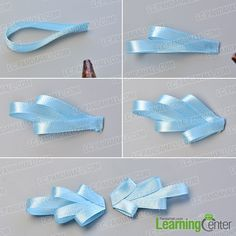 make the first part of the pink and blue ribbon bow hair clip