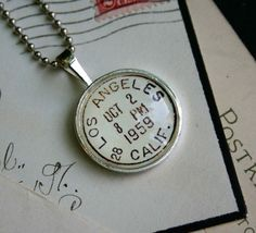 Los Angeles Vintage Postmark Necklace in silver, by CrowBiz on Etsy would be cute with baby's birthfacts in it
