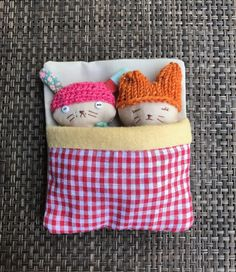 Two friends sleeping snugly together in a bed. The bed bag holds the dolls together and makes this play set ideal for travel and storing away. They can be converted into fun and whimsical pendants with A Long cord which is provided. Upon request they can be made into pins for clothing or bag. Made in a pet free, smoke free environment, these dolls are approximately 4 inches or 10 cm tall. The bodies may be cleaned with a damp cloth. Gentle play is recommended. I gift wrap the packag...