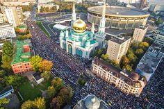 намаз в Курбан-байрам в центре Москвы