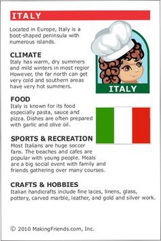 MakingFriends Facts about Italy Printable Thinking Day fact card for our passports. Perfect if you chose Italy for your Girl Scout Thinking Day or International Night celebration. Italy Culture, Culture Day, Teaching Kids, Kids Learning, Gs World, Italy For Kids, Around The World Theme, Little Passports, Italian Lessons
