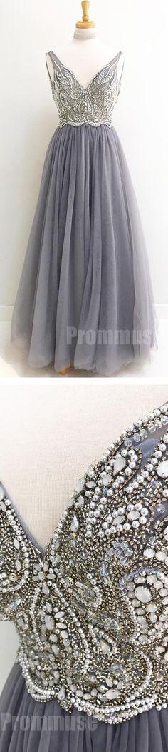 Charming V Neck Beaded Tulle Inexpensive Long Prom Dresses, PM0791 #promdress