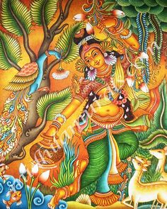 Kerala Mural Painting, Krishna Painting, Madhubani Painting, Krishna Art, Pichwai Paintings, Indian Art Paintings, Modern Art Paintings, Tulip Drawing, Indian Traditional Paintings
