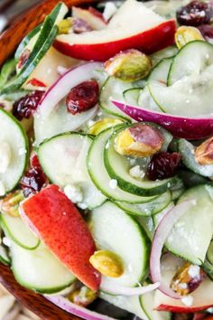 Pistachio-Pear Cucumber Salad | TheFoodCharlatan.com // Easy, healthy cucumber salad with a fall twist! Turns out cucumbers and pears are BFF.