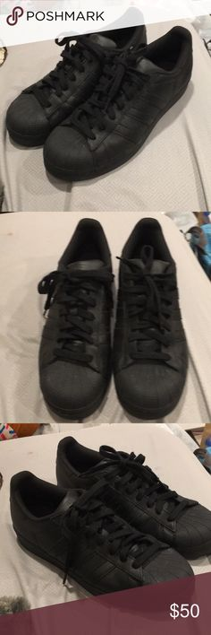 Adidas superstars all black EUC selling as is Amazing quality and barely used only showings of wear is on the bottoms which are a little muddy, and the inside is a tiny bit worn as you can see in the photos. ADIDAS RUNS BIG THESE WOULD FIT 1/2-1 SIZE BIGGER adidas Shoes Sneakers