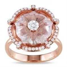 Miadora 14k Pink Gold Rose Quartz and 1/2ct TDW Diamond Ring (G-H, SI2)