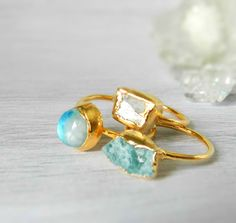 VALENTINES DAY SALE Stacking rings - Druzy ring - Gold dipped - Kunzite ring - Moonstone - Raw apatite by jennleeluxe on Etsy https://www.etsy.com/listing/208403978/valentines-day-sale-stacking-rings-druzy