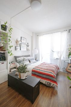 5 Studio Apartment Layouts that Work — Renters Solutions  love the pothos & the shelf + art above the bed!