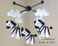 Baby Mobile - Baby Crib Mobile - Nursery Zebra Decor - Zebras Mobile - Safari Nursery - Kids Room