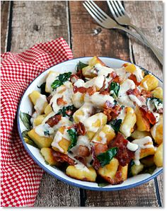 New Low FODMAP Recipes - Gluten free Gnocchi with two cheeses & bacon   http://www.ibssano.com/low_fodmap_recipe_gluten_free_gnocchi_cheese_bacon.html