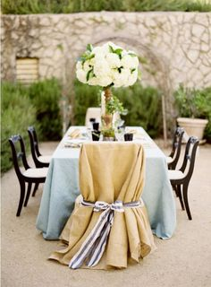 Linen - Burlap Draped Chair with Striped Sash #romance @Camille Styles