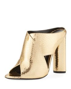 Evening Shoes at Neiman Marcus Open Toe Shoes, Open Toe Sandals, Slide Sandals, Metallic Sandals, Gold Sandals, Shoes Sandals, Heeled Mules Sandals, Pumps Heels, Tom Ford Shoes