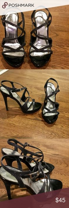 CAMILLE DRESS SANDALS Elegant black sparkly sandals. Great for any dressy occasion! Very comfortable too. Only worn once like new condition. Camille Shoes Heels