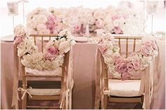Love these delicate ivory & pink fresh roses for #wedding chair decor x