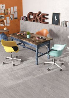 Living_Herberia_Natural Wood floortile and walltiles Silver 15x90. Soggiorno_Herberia_Natural Wood pavimento e rivestimento Silver 15x90.