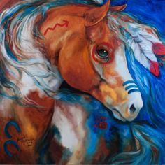 Please notice the heart on this great spirit horse ~ M BALDWIN ORIGINAL OIL PAINTING INDIAN WAR HORSE BRAVEHEART ~ MARCIA BALDWIN