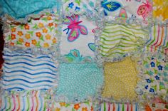 Modern Baby Girl Rag Quilt out of Twirl 37 X 39 inches. $45.00, via Etsy.