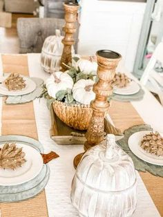 Easy and Beautiful Fall Tablescape -  Check out the details in this gorgeous fall table setting! Muted fall colors and natural looking decor ideas! Re-Fabbed #FallTablescape #FallTableSetting #FallDecor Decorating On A Budget, Decorating Blogs, Fall Decorating, Fall Table Settings, Wooden Pumpkins, Fall Diy, Autumn Inspiration, A Table, Tablescapes