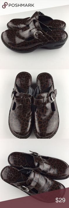 Born BOC Patent Leather Cheetah Print Mules Size 9 In good preowned condition — last pic shows scuff. Only major flaw. Other than that everything has been cleaned and ready for a new home! Comes with no box.   Super cute cheetah print   Size 9   No trades. Offers welcome. B.O.C Shoes Mules & Clogs