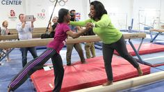 Oprah balancing on a beam with Gabby...classic and funny!