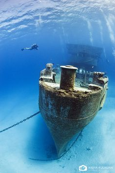 Scuba diving to one of the Shipwrecks off Grand Cayman Island Under The Water, Under The Sea, Abandoned Ships, Abandoned Places, Underwater Photos, Underwater Photography, Snorkeling, Ghost Ship, Image Nature