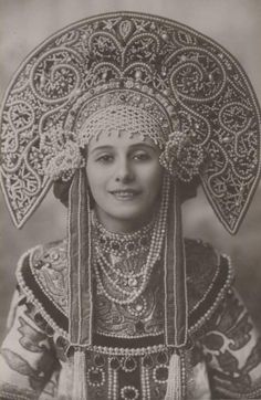 Anna Pavlova in costume for her Russian dance, 1910's-20's.  Her headdress is an elaborate version of a kokoshnik.