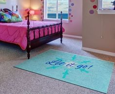 Another neat rug for a girls bedroom if she is a fan of ‎Elsa‬ fan from ‪#‎Frozen‬!