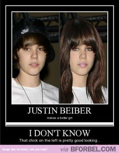 Justin Bieber Makes A Pretty Girl… Pretty Good, Pretty Girls, Justin Bieber Meme, Portal, Sick Burns, Funny Photos, Humorous Pictures, How To Look Handsome, Funny Cute