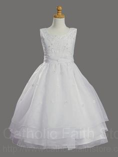 First Communion Dress with Embroidered Organza & Pearls : LCD1002 #catholicfaithstore