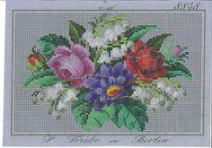 Digitalt Museum - Broderimønster - P. Trübe in Berlin - Blumenstrauss mit Maiglöckchen roter und rosa Rose und ?