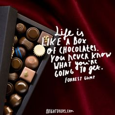 """""""Life is like a box of chocolates. You never know what you're going to get."""" ~ Forrest Gump"""