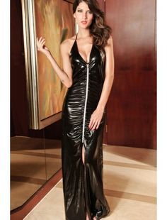 Exceptionally eye-catching, Black Long Wet Look Gown- zip in front with soft ruffles stitched along gives the black gown.| Gowns and Long Dresses | Nightwear | StringsAndMe