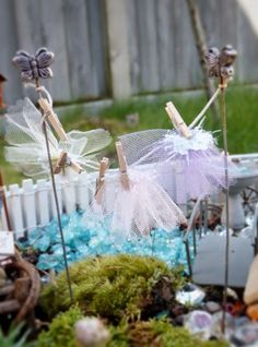 Fairy Skirts on the clothes line!  Fairy Garden from Blue Bells and Cockle Shells