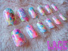 Neon Watercolor Fake Nails by lacenailart on Etsy $6
