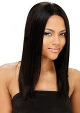 Perfect #1B 16Inch Silky Straight Remy Human Hair Full Lace Wig