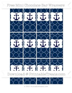 Free Navy Blue Quatrefoil Pattern Nautical Mini Chocolate Bar Wrappers