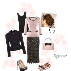 Pink & Black by estes9011 on Polyvore featuring H&M, DAY Birger et Mikkelsen, RED Valentino, Giles, Valentino, Melissa, Kate Spade and Accessorize
