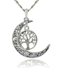 Tree Of Life With Filigree Moon Pendant Necklace – JaeBee Jewelry