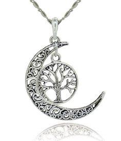 Tree Of Life With Filigree Moon Pendant Necklace – JaeBee Jewelry