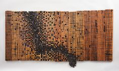 El Anatsui, Old Cloth Series, 1993, Wood and paint, 31 1/2 x 60 1/4 inches. Courtesy of the Museum for African Art, NYC.